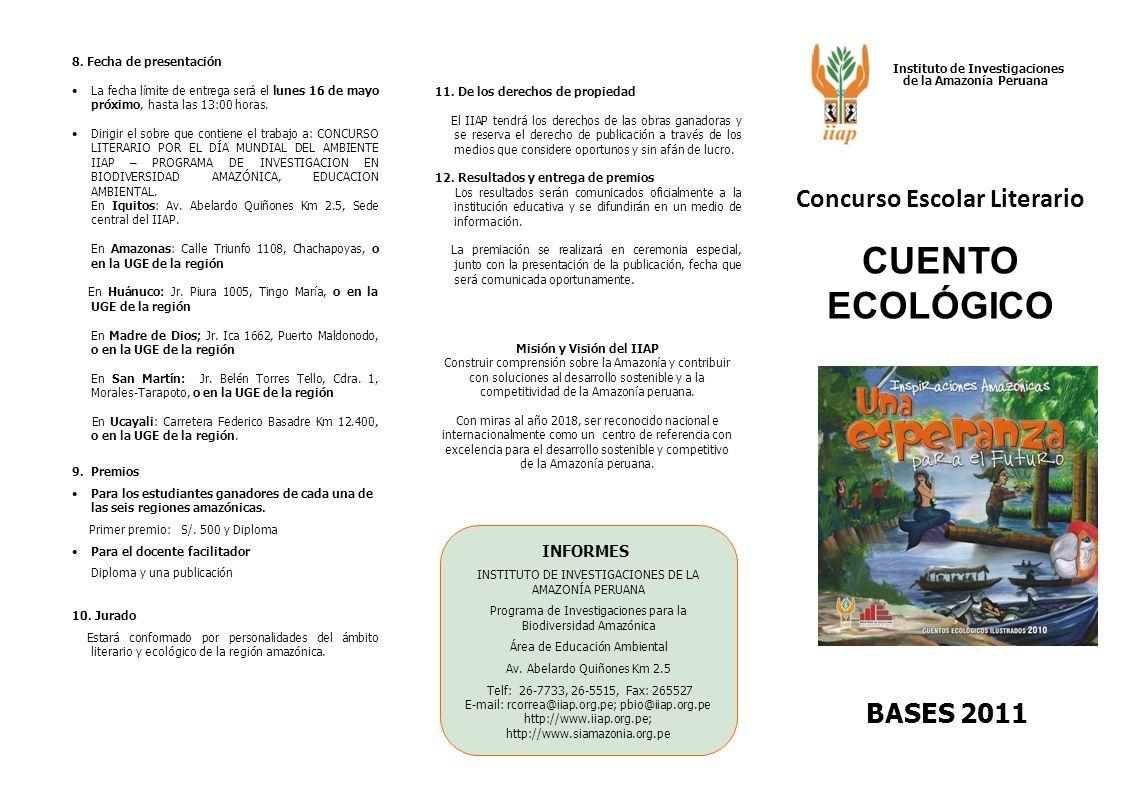CUENTO ECOLÓGICO Concurso Escolar Literario BASES 2011