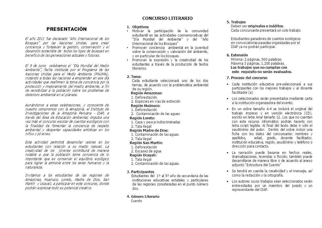 PRESENTACIÓN CONCURSO LITERARIO Objetivos 5. Trabajos