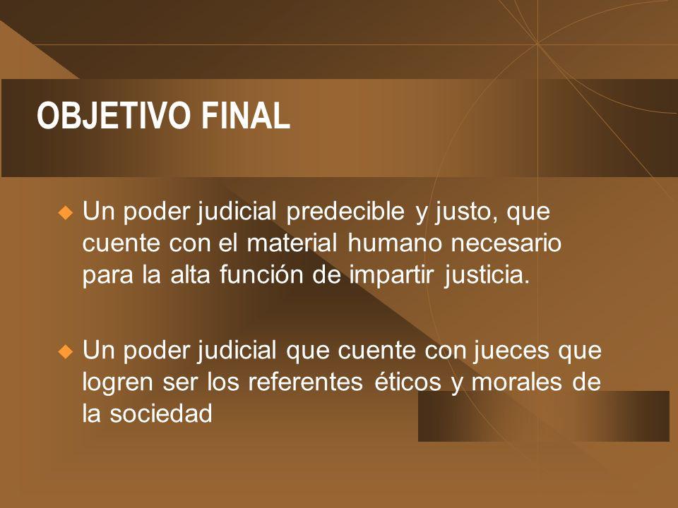 OBJETIVO FINAL Un poder judicial predecible y justo, que cuente con el material humano necesario para la alta función de impartir justicia.