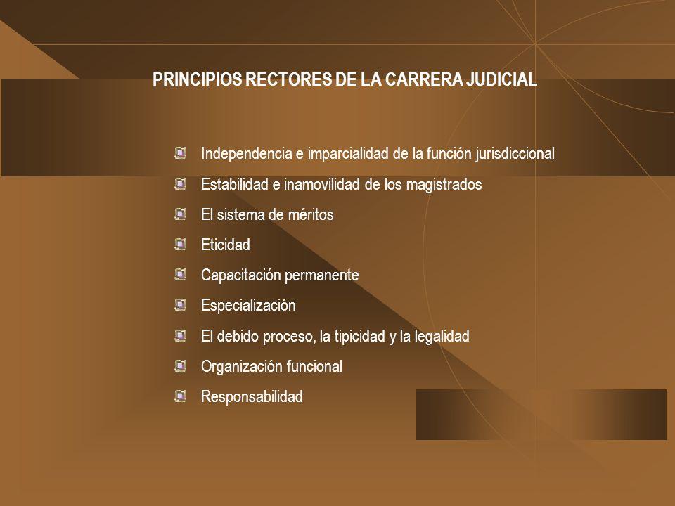 PRINCIPIOS RECTORES DE LA CARRERA JUDICIAL