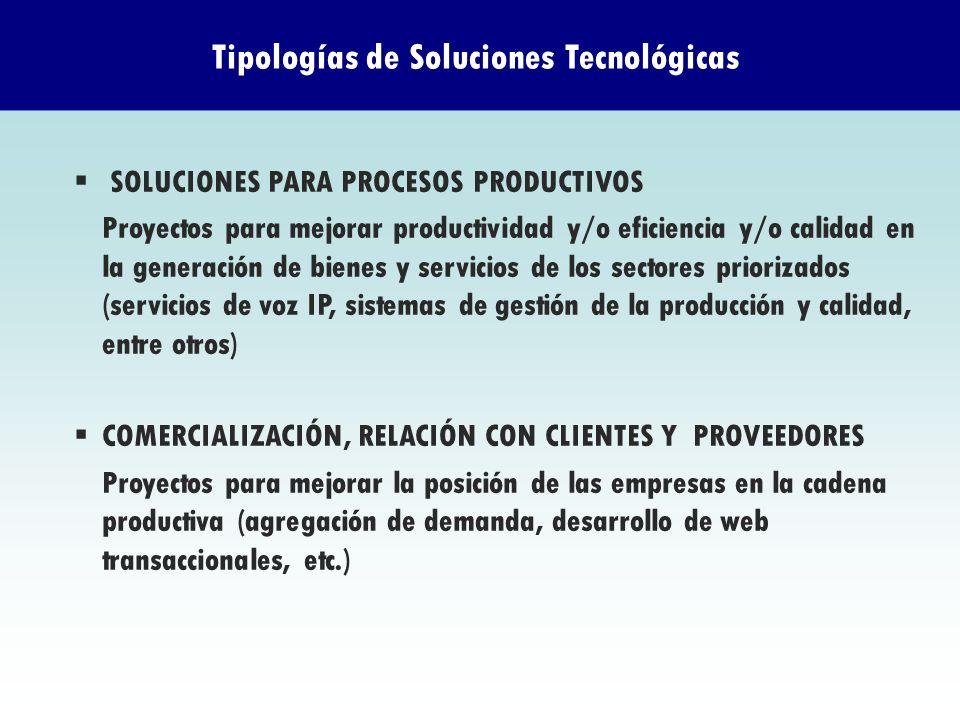 Tipologías de Soluciones Tecnológicas