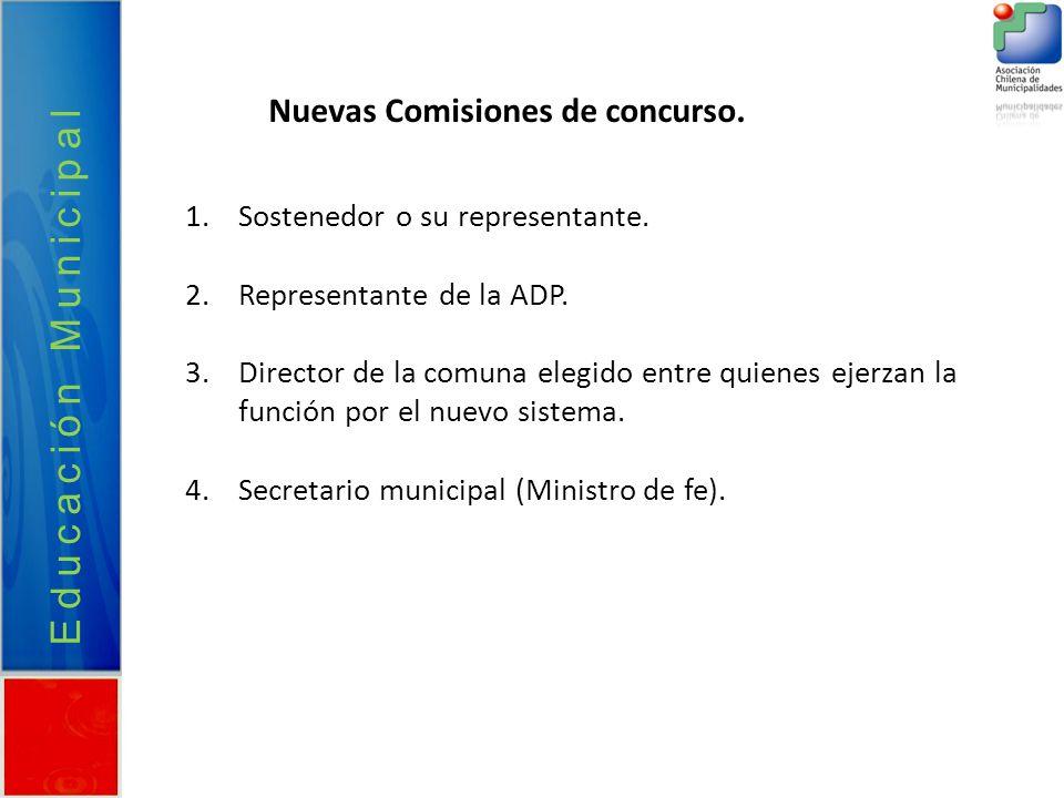 Educación Municipal Nuevas Comisiones de concurso.