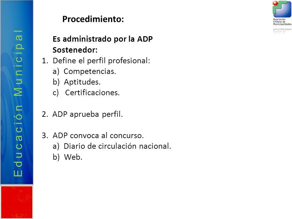 Educación Municipal Procedimiento: Es administrado por la ADP