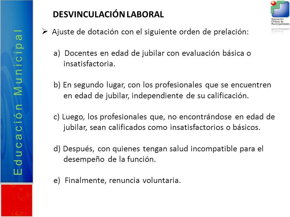 Educación Municipal DESVINCULACIÓN LABORAL