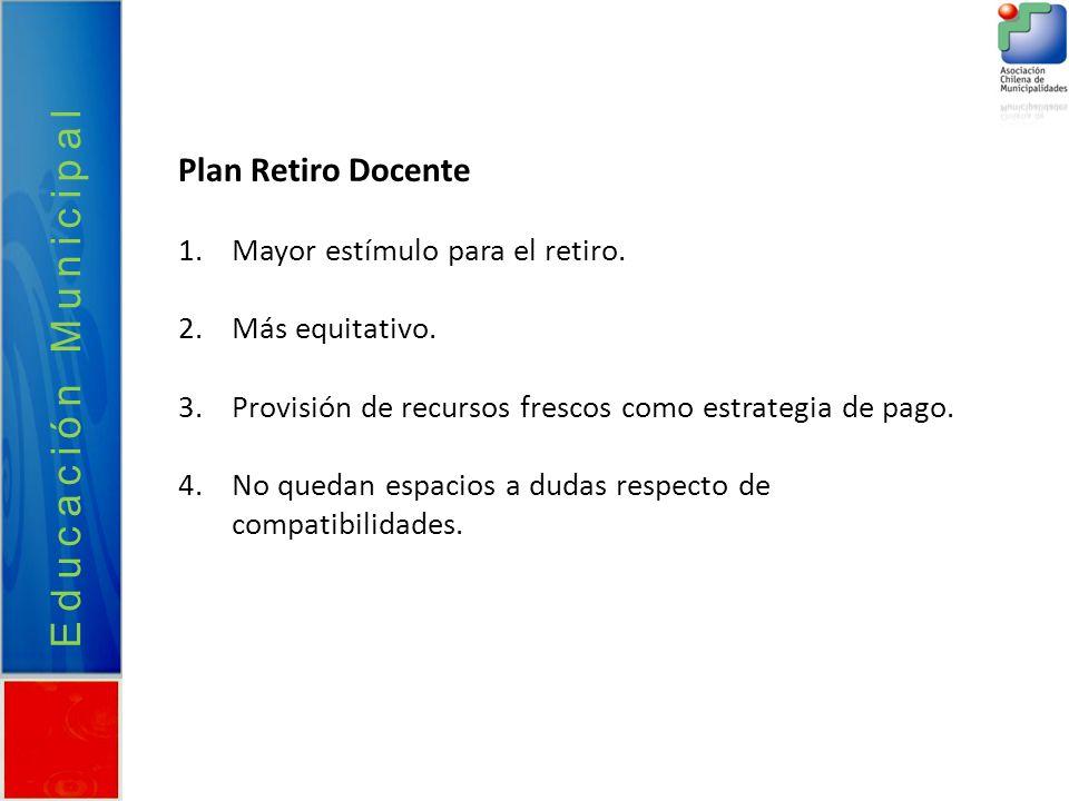 Educación Municipal Plan Retiro Docente Mayor estímulo para el retiro.
