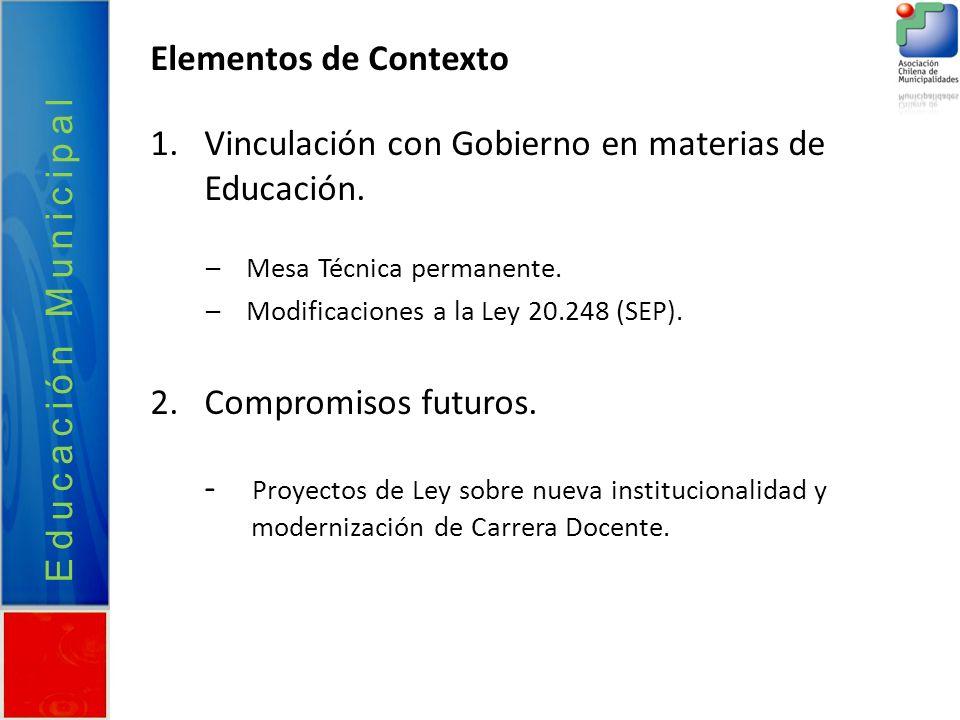 Vinculación con Gobierno en materias de Educación.