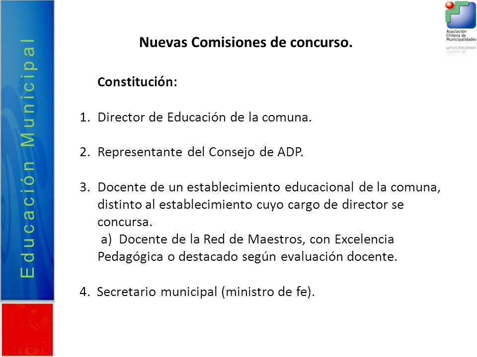 Educación Municipal Nuevas Comisiones de concurso. Constitución: