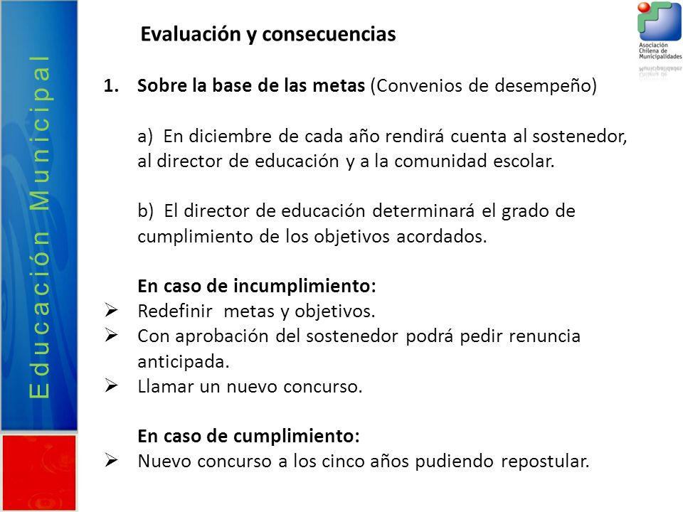 Educación Municipal Evaluación y consecuencias
