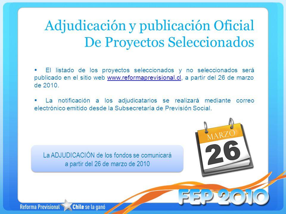 Adjudicación y publicación Oficial De Proyectos Seleccionados