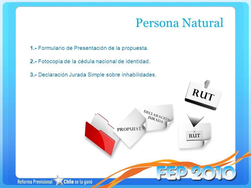 Persona Natural 1.- Formulario de Presentación de la propuesta.