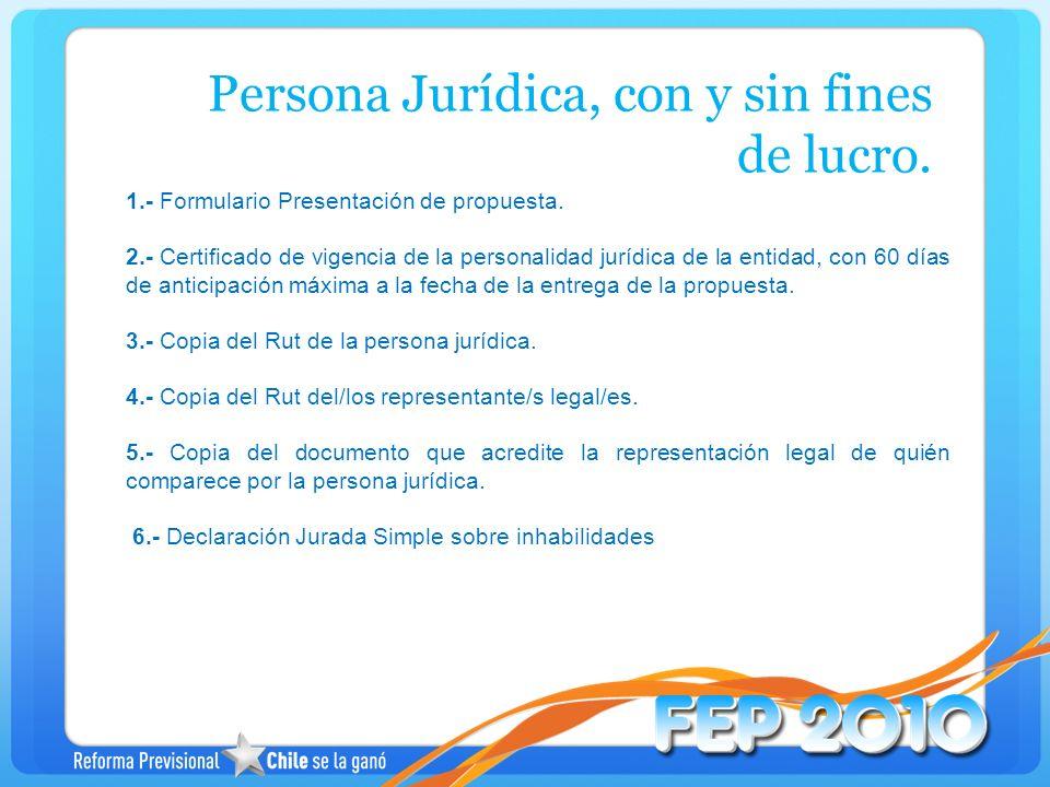 Persona Jurídica, con y sin fines de lucro.