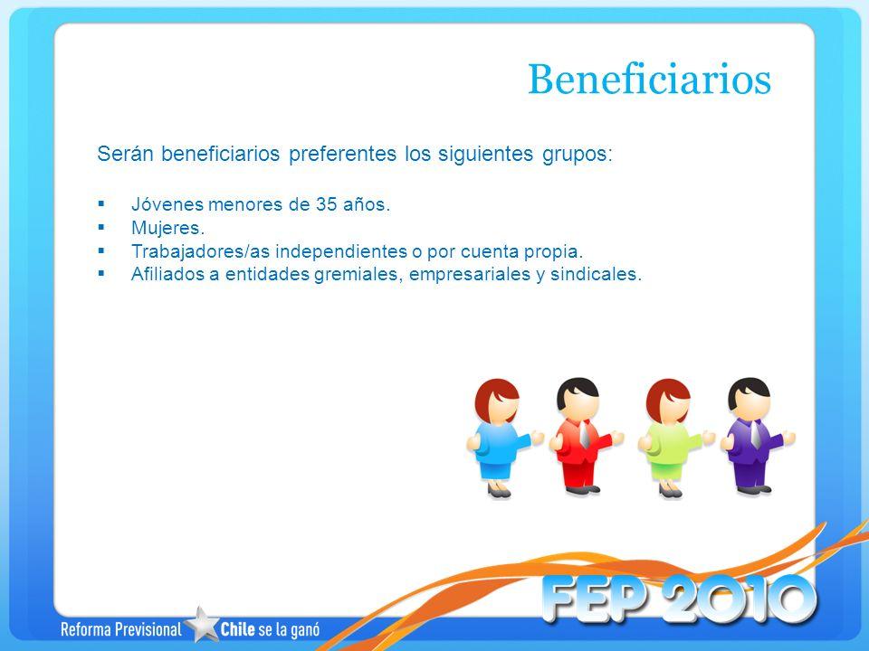 Beneficiarios Serán beneficiarios preferentes los siguientes grupos: