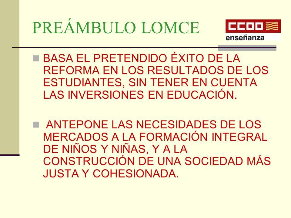 PREÁMBULO LOMCE BASA EL PRETENDIDO ÉXITO DE LA REFORMA EN LOS RESULTADOS DE LOS ESTUDIANTES, SIN TENER EN CUENTA LAS INVERSIONES EN EDUCACIÓN.