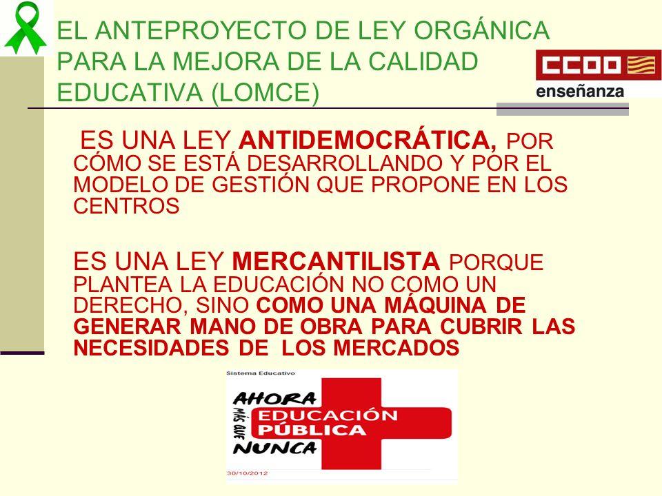 EL ANTEPROYECTO DE LEY ORGÁNICA PARA LA MEJORA DE LA CALIDAD EDUCATIVA (LOMCE)