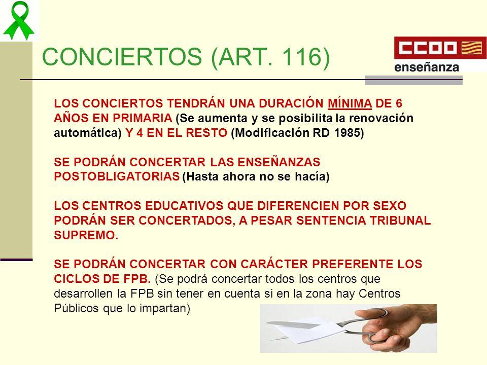 CONCIERTOS (ART. 116)