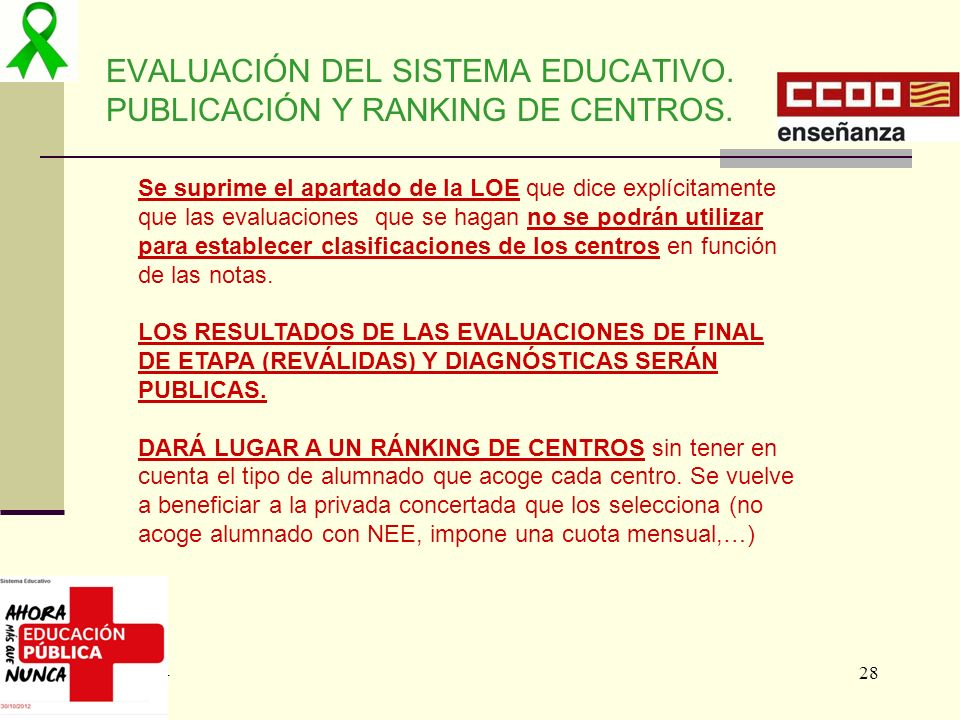 EVALUACIÓN DEL SISTEMA EDUCATIVO. PUBLICACIÓN Y RANKING DE CENTROS.
