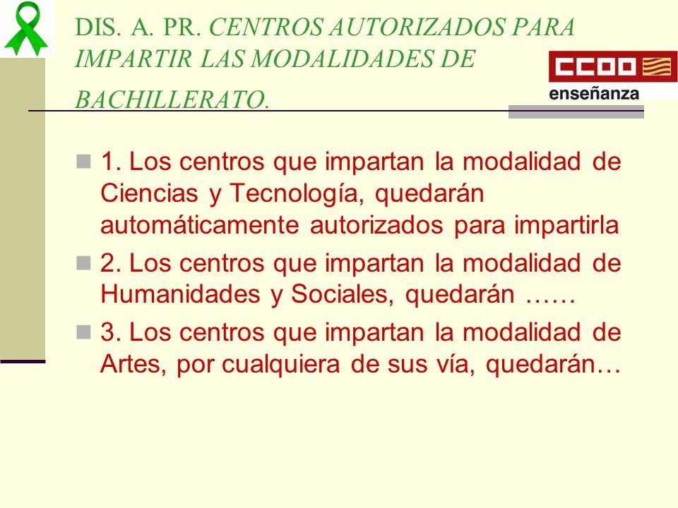 DIS. A. PR. CENTROS AUTORIZADOS PARA IMPARTIR LAS MODALIDADES DE BACHILLERATO.
