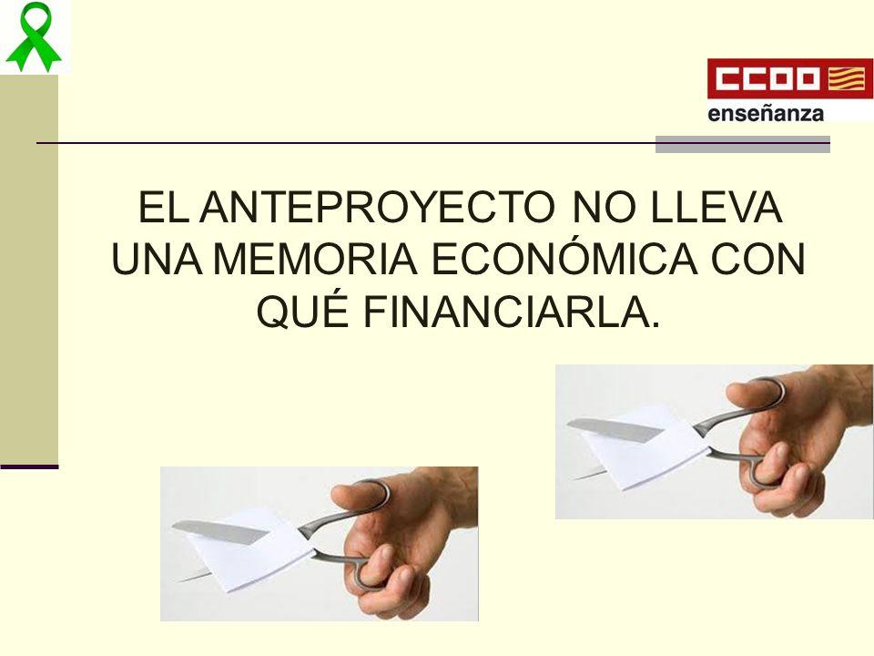EL ANTEPROYECTO NO LLEVA UNA MEMORIA ECONÓMICA CON QUÉ FINANCIARLA.