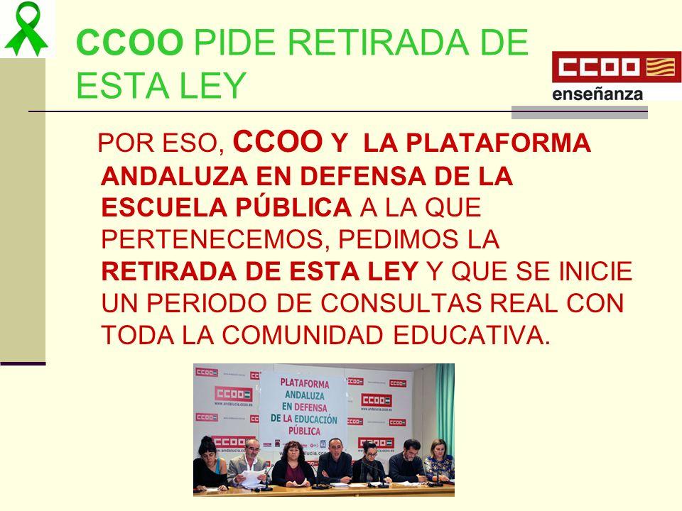 CCOO PIDE RETIRADA DE ESTA LEY