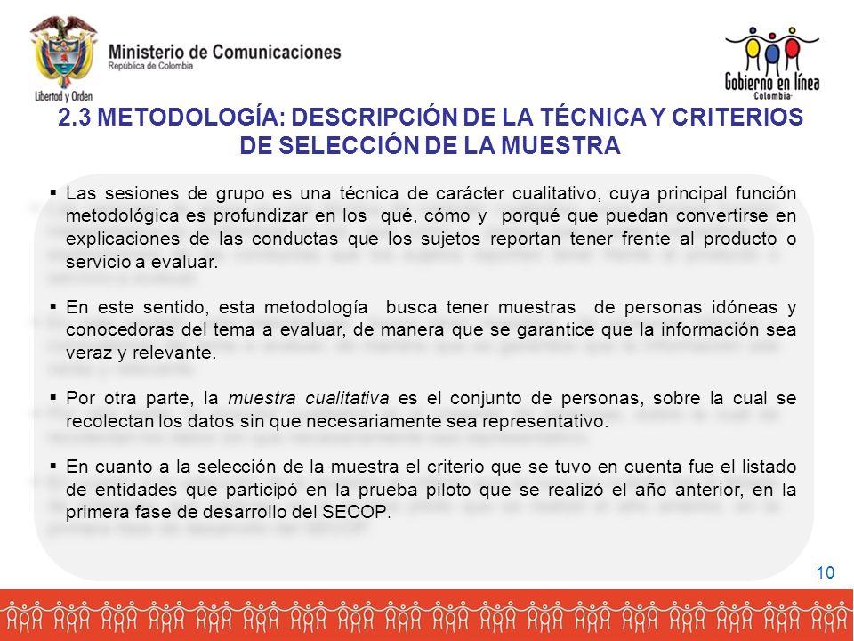 2.3 METODOLOGÍA: DESCRIPCIÓN DE LA TÉCNICA Y CRITERIOS DE SELECCIÓN DE LA MUESTRA