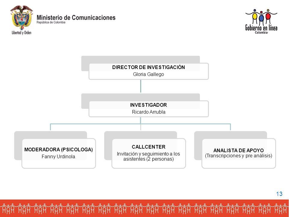 DIRECTOR DE INVESTIGACIÓN MODERADORA (PSICOLOGA)