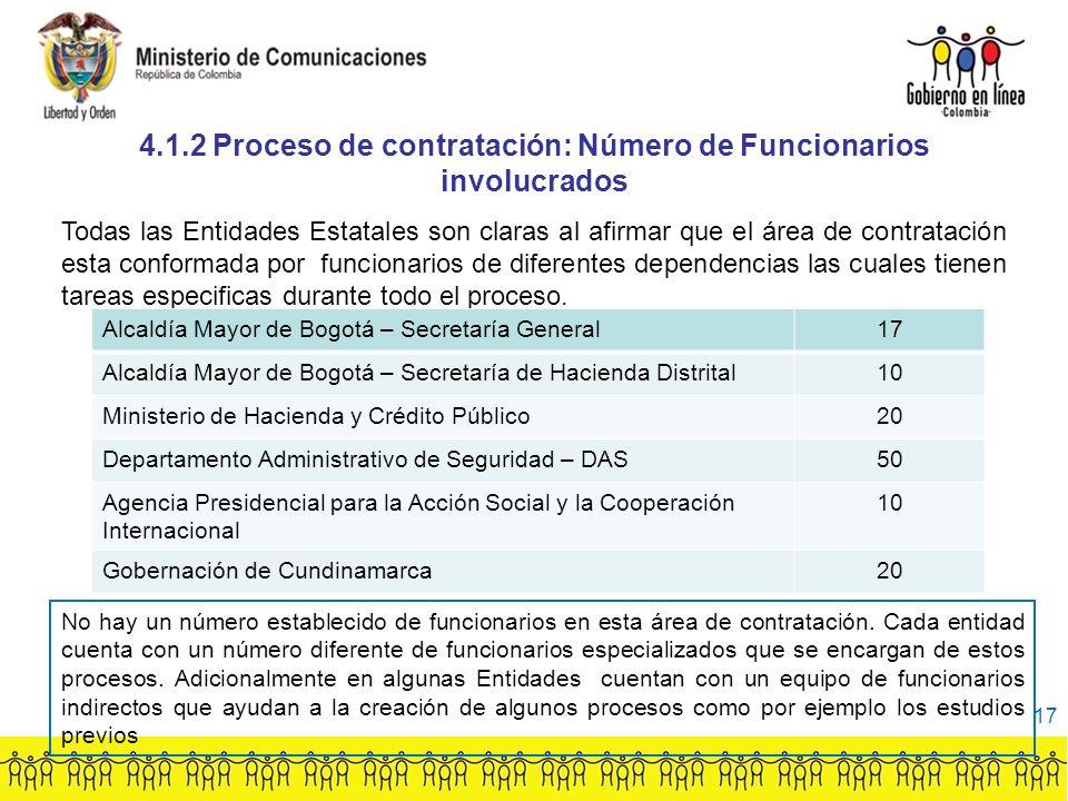 4.1.2 Proceso de contratación: Número de Funcionarios involucrados