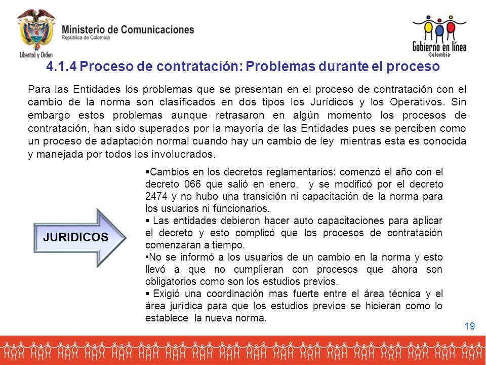 4.1.4 Proceso de contratación: Problemas durante el proceso