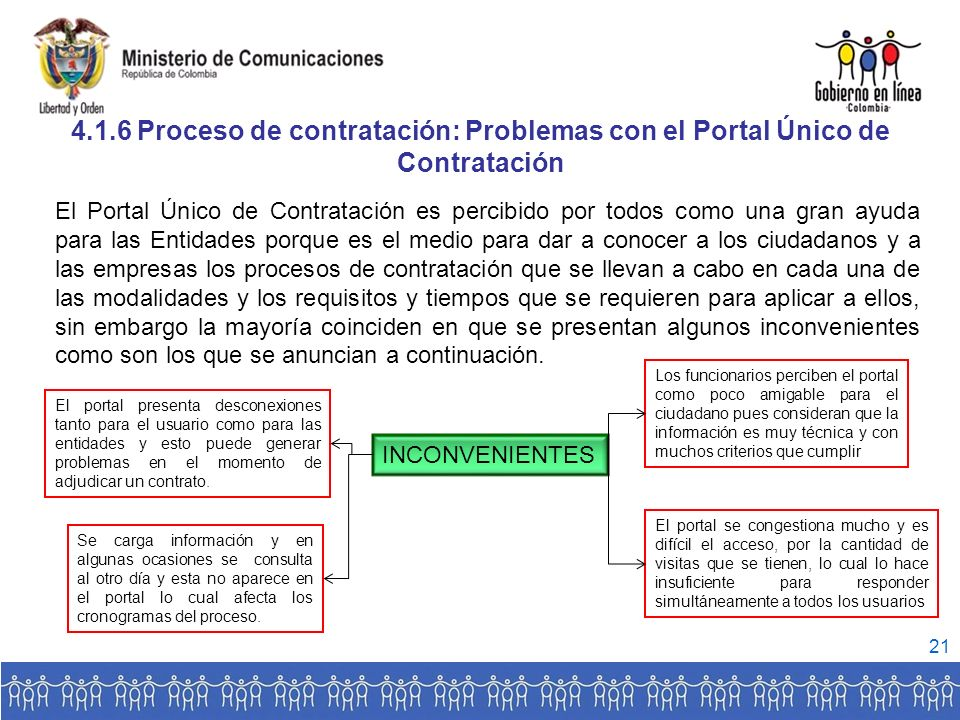 4.1.6 Proceso de contratación: Problemas con el Portal Único de Contratación