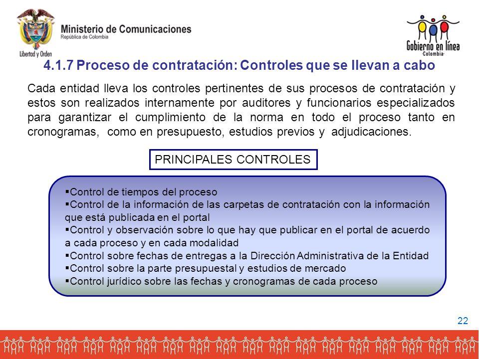 4.1.7 Proceso de contratación: Controles que se llevan a cabo