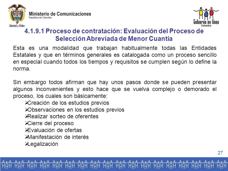 4.1.9.1 Proceso de contratación: Evaluación del Proceso de Selección Abreviada de Menor Cuantía