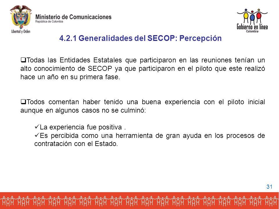 4.2.1 Generalidades del SECOP: Percepción