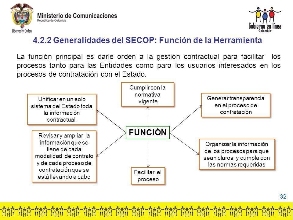 4.2.2 Generalidades del SECOP: Función de la Herramienta