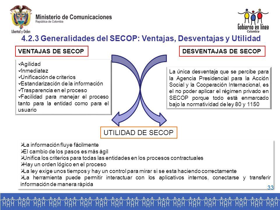 4.2.3 Generalidades del SECOP: Ventajas, Desventajas y Utilidad