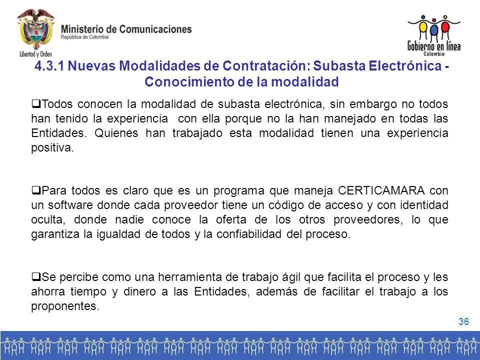 4.3.1 Nuevas Modalidades de Contratación: Subasta Electrónica -