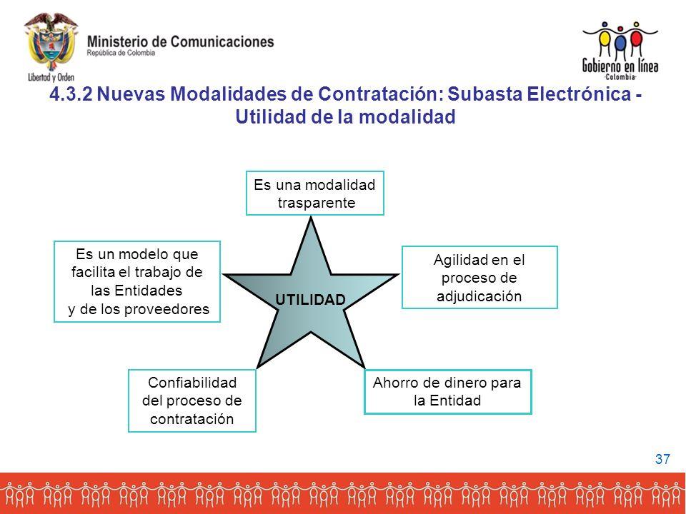 4.3.2 Nuevas Modalidades de Contratación: Subasta Electrónica -