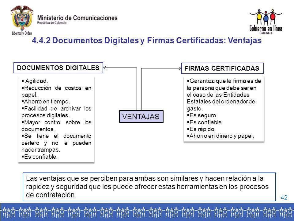 4.4.2 Documentos Digitales y Firmas Certificadas: Ventajas