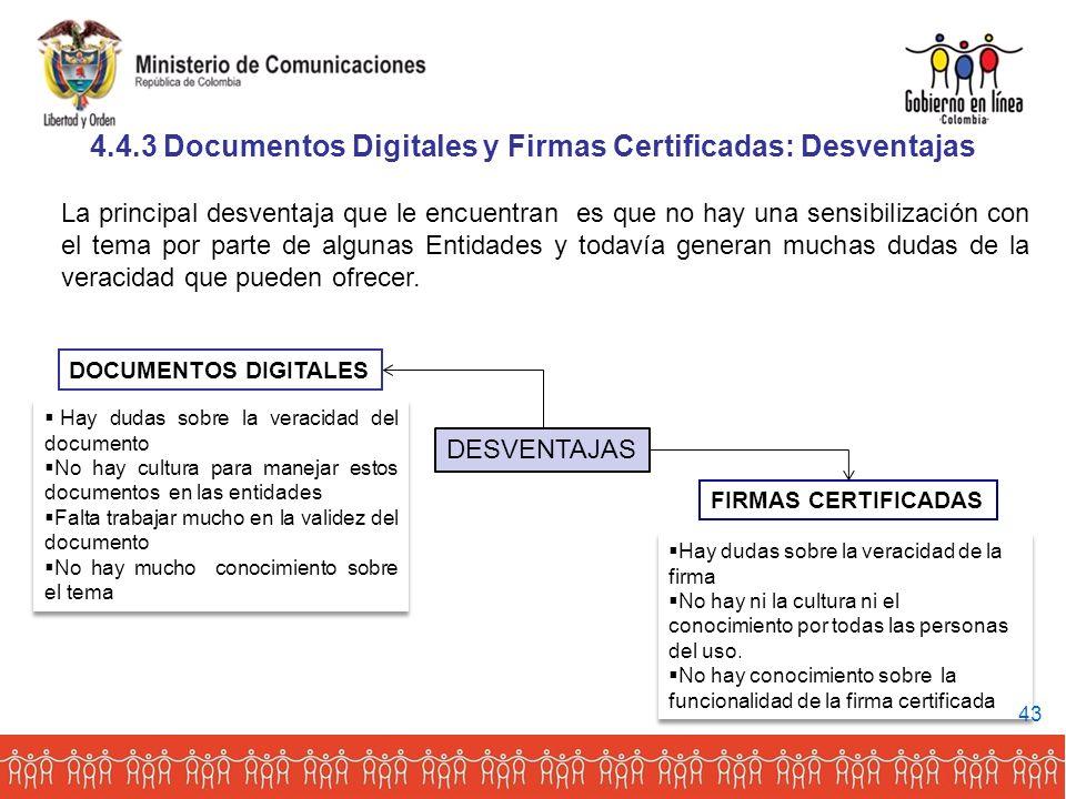 4.4.3 Documentos Digitales y Firmas Certificadas: Desventajas