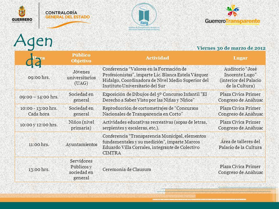Agenda Viernes 30 de marzo de 2012 Hora Público Objetivo Actividad
