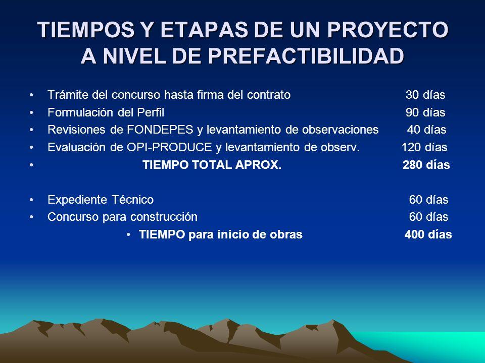 TIEMPOS Y ETAPAS DE UN PROYECTO A NIVEL DE PREFACTIBILIDAD