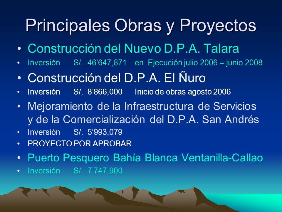 Principales Obras y Proyectos