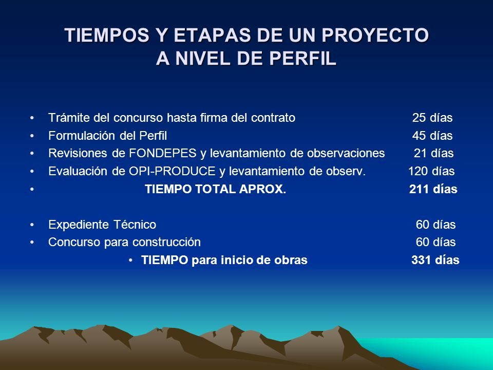 TIEMPOS Y ETAPAS DE UN PROYECTO A NIVEL DE PERFIL