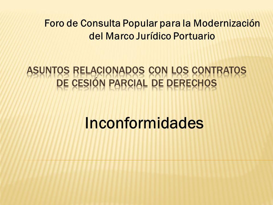 Asuntos relacionados con los Contratos de Cesión Parcial de Derechos