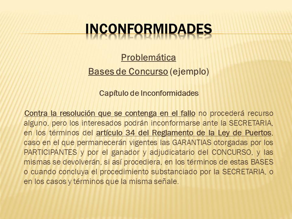 Bases de Concurso (ejemplo) Capítulo de Inconformidades