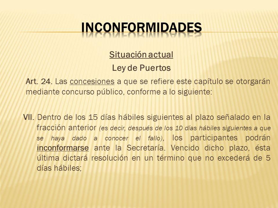 Inconformidades Situación actual Ley de Puertos