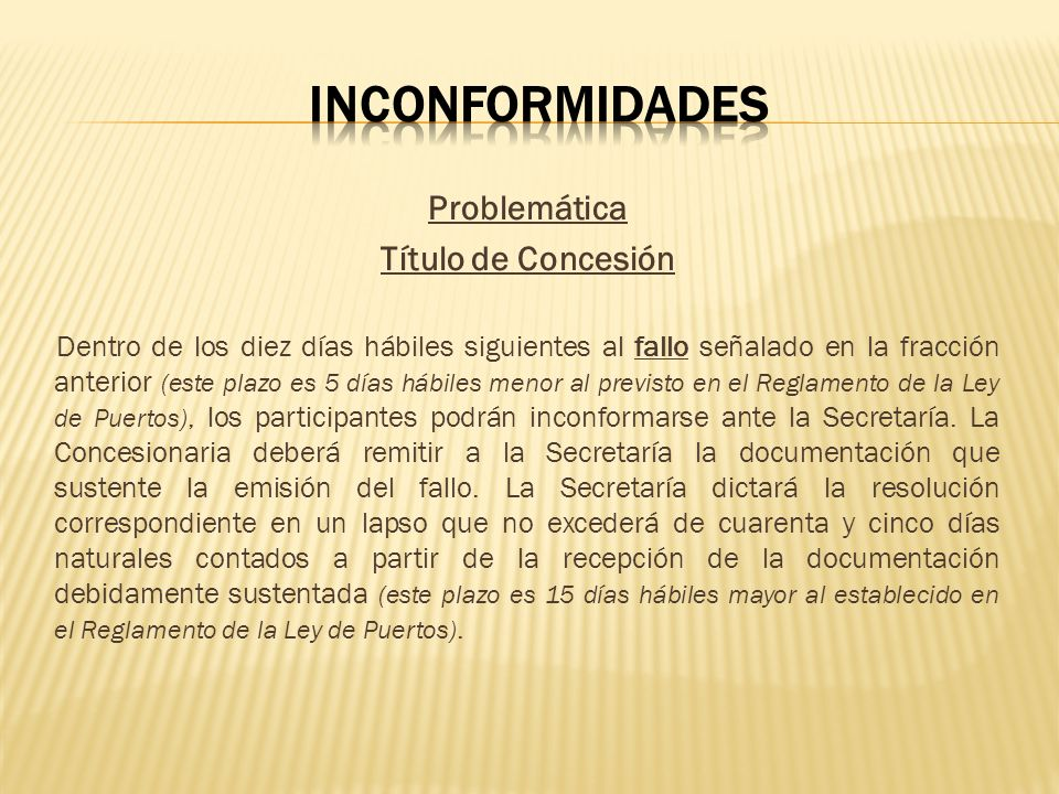 Inconformidades Problemática Título de Concesión