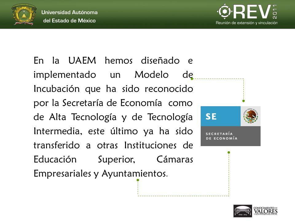 En la UAEM hemos diseñado e implementado un Modelo de Incubación que ha sido reconocido por la Secretaría de Economía como de Alta Tecnología y de Tecnología Intermedia, este último ya ha sido transferido a otras Instituciones de Educación Superior, Cámaras Empresariales y Ayuntamientos.