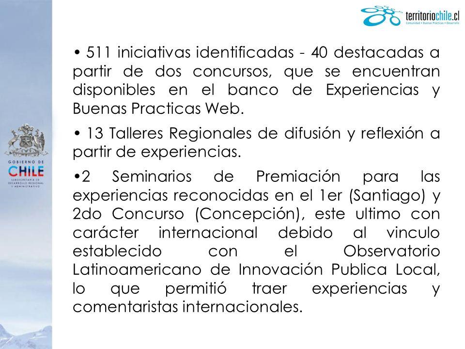 511 iniciativas identificadas - 40 destacadas a partir de dos concursos, que se encuentran disponibles en el banco de Experiencias y Buenas Practicas Web.
