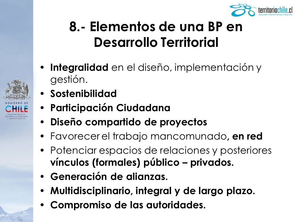 8.- Elementos de una BP en Desarrollo Territorial