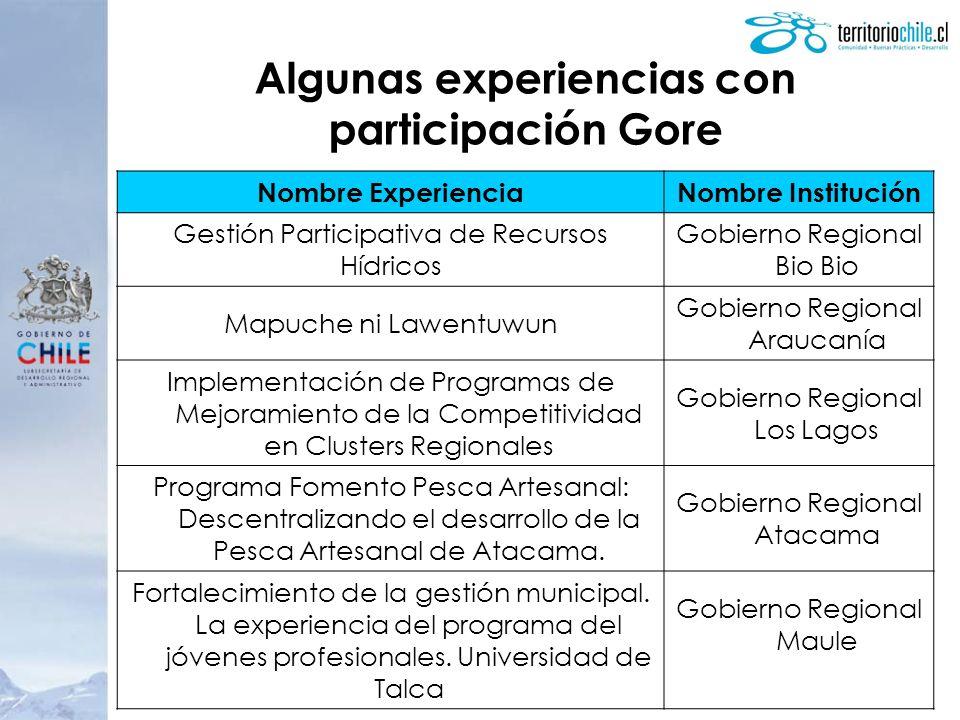 Algunas experiencias con participación Gore
