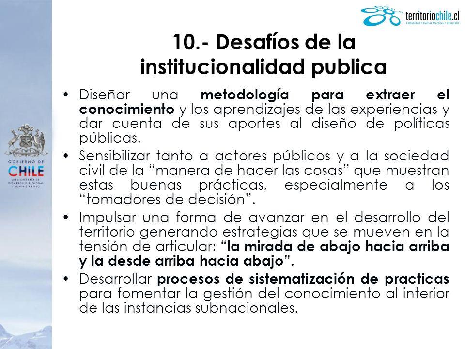 10.- Desafíos de la institucionalidad publica